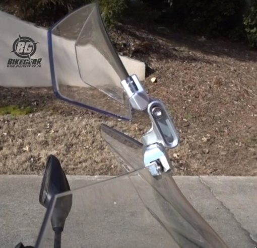 Side view motorcycle wind screen accessory